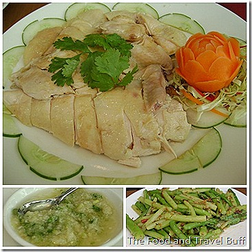 Hainanese Chicken with Garlic Sauce (below left) and Asparagus (below right)